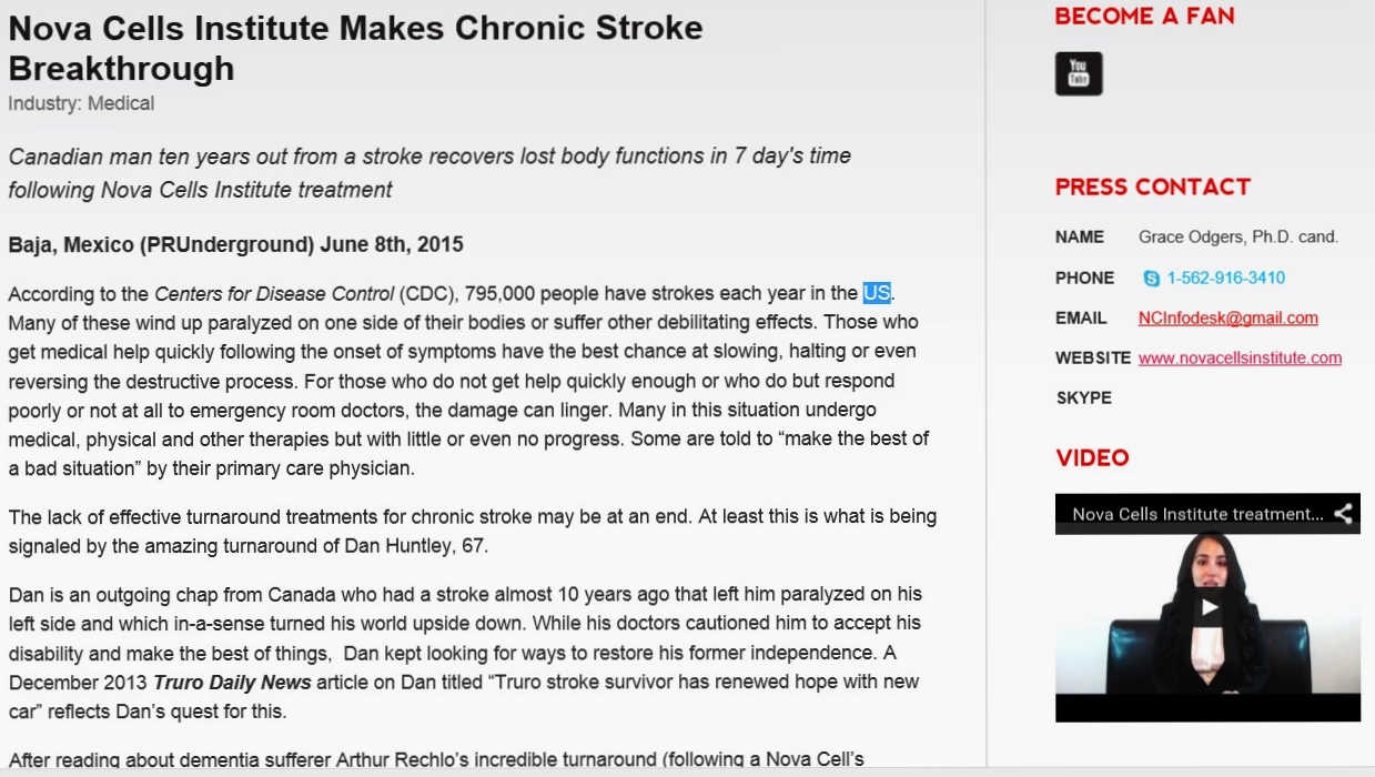 STROKE NEW RELEASE - JUNE 2015 - DAN HUNTLEY